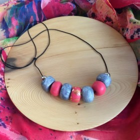 Blush Pink and Silver Grey Polymer Clay Necklace