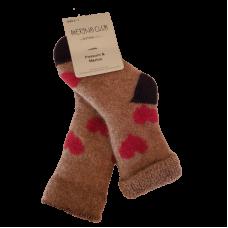 Baby Possum Socks - Beige Red Hearts