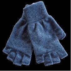 Fingerless Possum Fur & Merino Wool Gloves - Grey