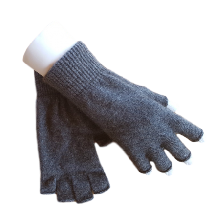 Fingerless Possum Fur & Merino Wool Gloves - Grey