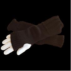 Pure Wool Fingerless Gloves - Plain Black