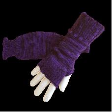 Pure Wool Fingerless Gloves - Purple & Black