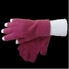 Fingerless Possum Fur & Merino Wool Gloves - Pink