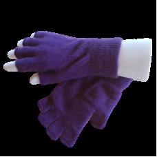 Fingerless Possum Fur & Merino Wool Gloves - Purple
