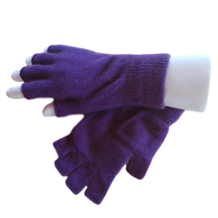 Fingerless Possum Fur & Merino Wool Gloves - Purple
