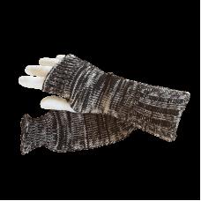 Pure Wool Fingerless Gloves - Black & White