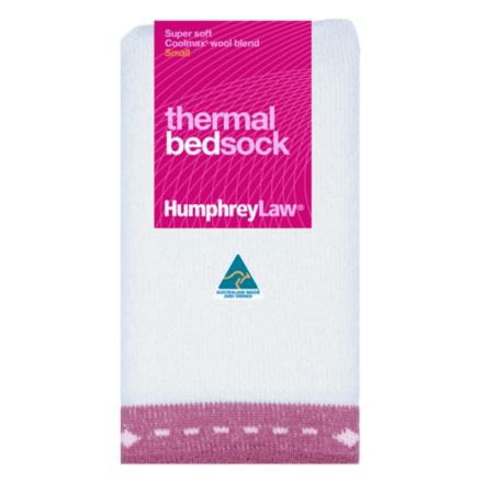 Thermal Bed Socks - Pink Trim, Small