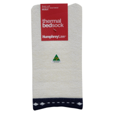 Thermal Bed Socks - Navy Trim, Large