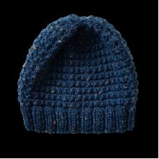 Hand Knitted Kids Beanie - Dark Blue Fleck