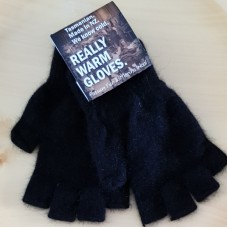 Fingerless Possum Fur & Merino Wool Gloves - Black