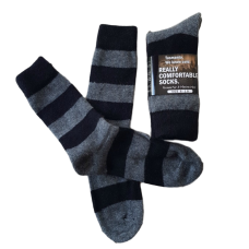 Possum Fur & Merino Wool Socks  - Black & Grey Stripe