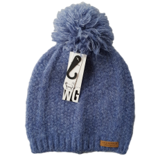 Combination Wool Blend Beanie - Denim Blue