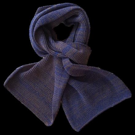Pure Merino Wool Scarf - Blue & Taupe Fleck