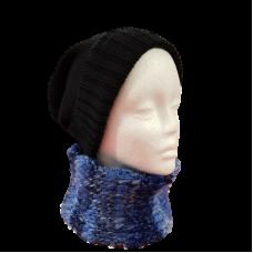 Blue Neck Scarf - Handknitted