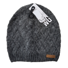 Combination Wool Blend Beanie - Grey Fluffy