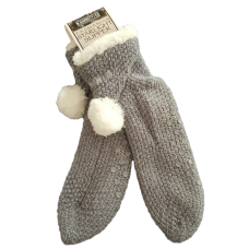 House or Slipper Socks Fleecy Lined - Tasmania, Grey with Pom Poms