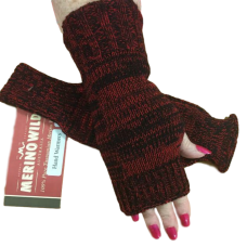 Red and Black Hand Warmers or Fingerless Gloves