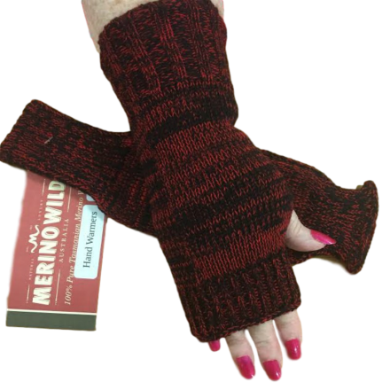Pure Wool Red & Black Hand Warmers or Fingerless Gloves