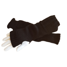 Pure Wool Fingerless Gloves - Plain Black