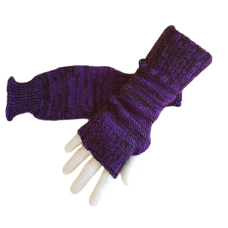 Pure Wool Fingerless Gloves - Purple & Black