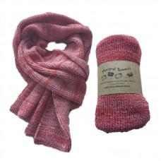 Pure Merino Wool Long Red & White Scarf