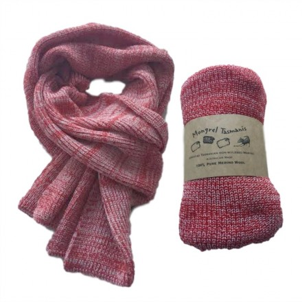 Pure Merino Wool Long Red Scarf