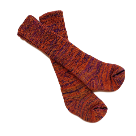 Kids Pure Wool Knit Socks - Orange fleck