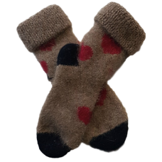 Mini Possum Socks - Beige Red Hearts