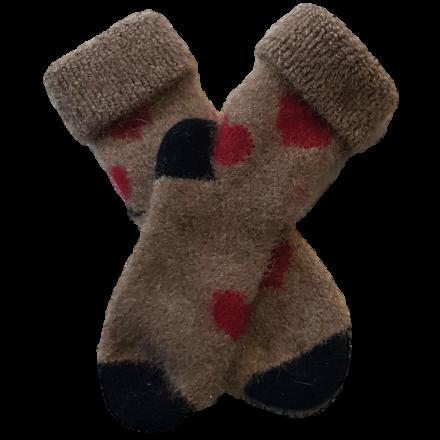 Mini Possum Socks - Beige Red Hearts