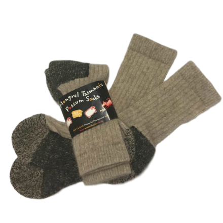 Possum Merino Boot Socks - Beige and Black