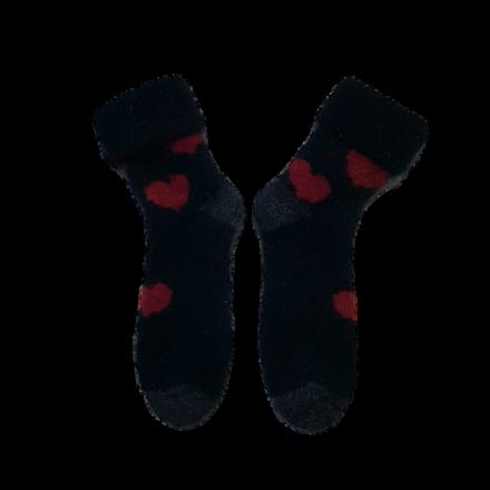 Mini Possum Socks - Black, Red Hearts
