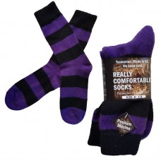 Possum Fur & Merino Wool Socks - Purple & Black Stripe