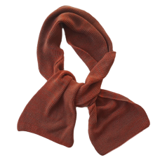 Pure Merino Wool Long Scarf - Rust & Brown Fleck