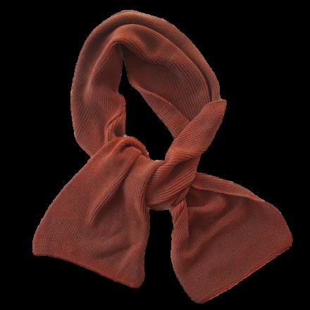 Pure Merino Wool Long Scarf - Rust & Brown Fleck