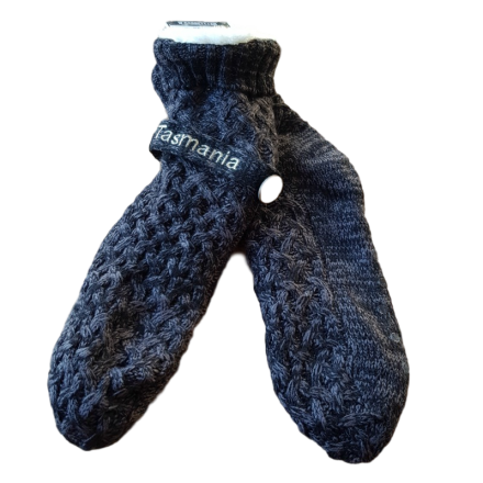 House or Slipper Socks, Fleecy Lined - Black & Grey Fleck, Tasmania