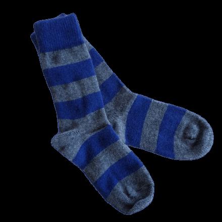Possum Fur & Merino Wool Socks - Blue & Grey Stripe