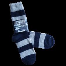 Possum Fur & Merino Wool Socks - Black & Oatmeal Stripe