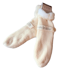 House or Slipper Socks Fleecy Lined - Cream, Australia