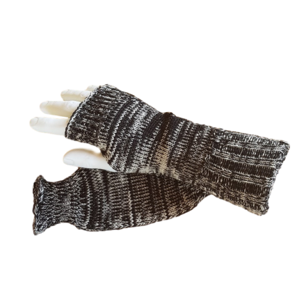 Pure Wool Fingerless Gloves - Black & White