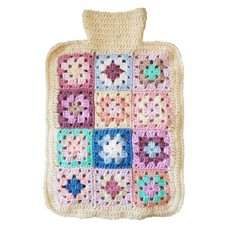 Hot Water Bottle Cover - Hand Crochet, Cream Trim
