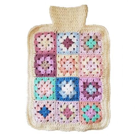 Hot Water Bottle Cover - Hand Crochet, Cream Trim