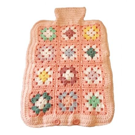 Hot Water Bottle Cover - Hand Crochet, Pinks