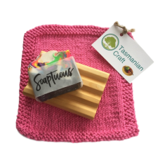 Huon Pine Soap Holder Gift Pack - Pink Washer