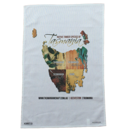 Souvenir Tea Towel-  Native Timbers Tasmania