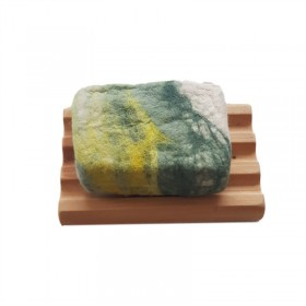Hand Felted Soap & Huon Pine Soap Holder - Greens