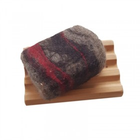 Hand Felted Soap & Huon Pine Soap Holder - Browns