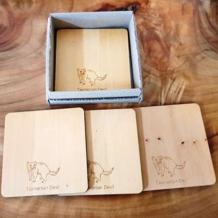 Huon Pine Coasters - Set of Four - Tassie Devil