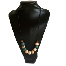 Olive Green and Cream Polymer Clay Necklace